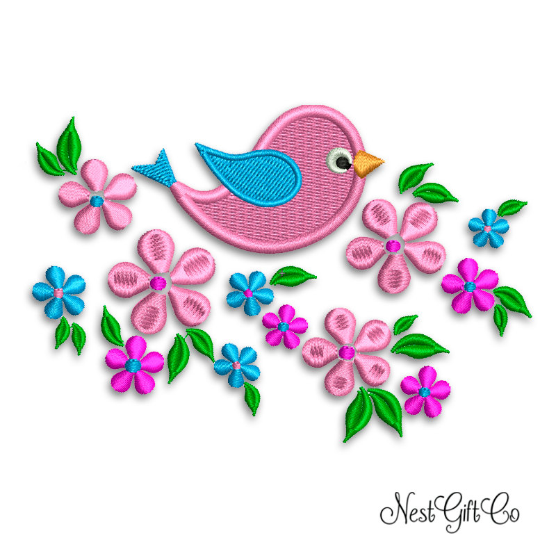 Machine embroidery light pink bird and flowers design