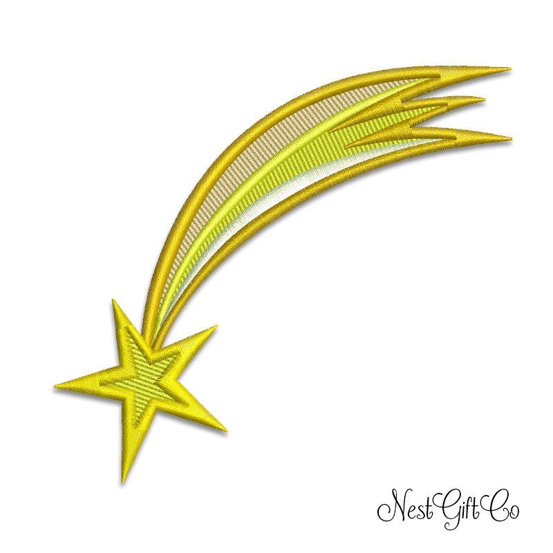 Design Embroidery for Machine - Gold Star Comet Applique download embroidery file