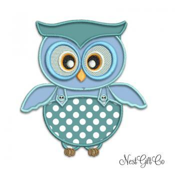 Digital Applique Embroidery Owl - Teal Owl for machine embroidery digital file
