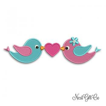Two Love Birds Applique Embroidery Digital File, download design birds embroidery file